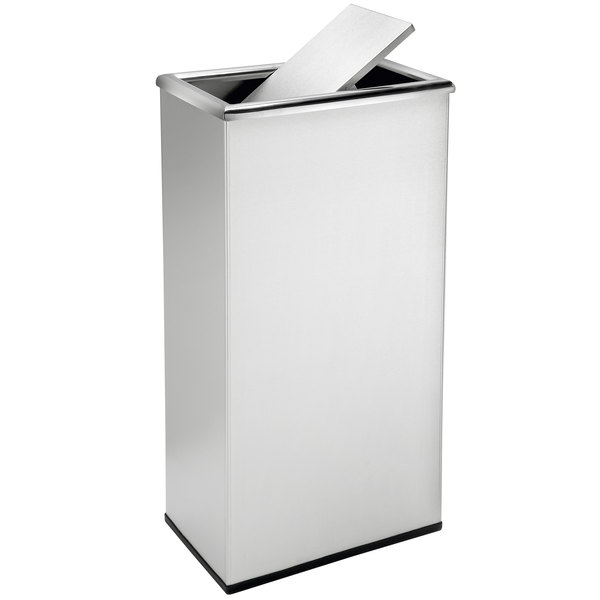 Commercial Zone 780829 Precision 13 5 Gallon Stainless Steel Trash Receptacle And Rectangular Swivel Lid Set