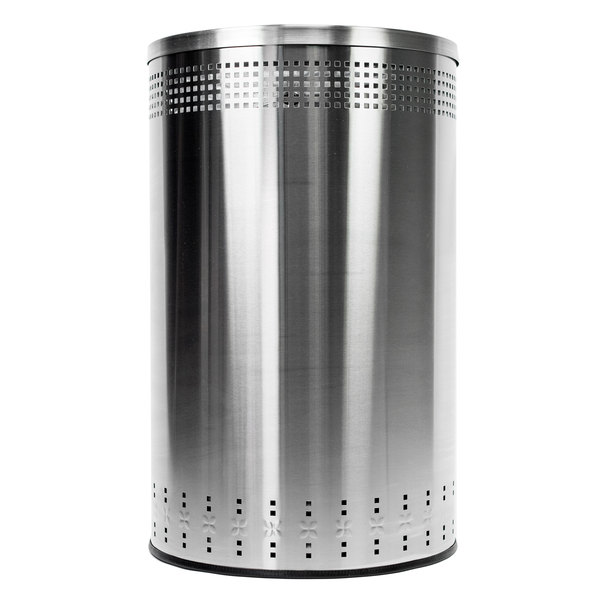 Commercial Zone 782329 Precision 45 Gallon Imprinted Stainless Steel Trash Receptacle and Open Top Lid Set Main Image 1