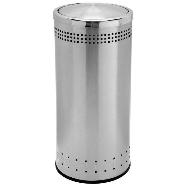 Commercial Zone 780729 Precision 15 Gallon Imprinted Stainless Steel Trash Receptacle and Swivel Lid Set