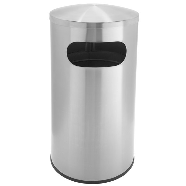 Commercial Zone 780329 Precision 15 Gallon Allure Stainless Steel Trash Receptacle with Oval Side Opening