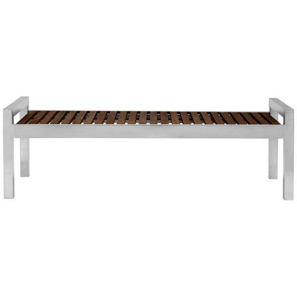 Commercial Zone 725453 Skyline Series 5' Espresso Wood and Stainless Steel Indoor / Outdoor Bench