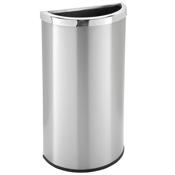Commercial Zone 780929 Precision 8 Gallon Half Moon Stainless Steel Flat Sided Trash Receptacle