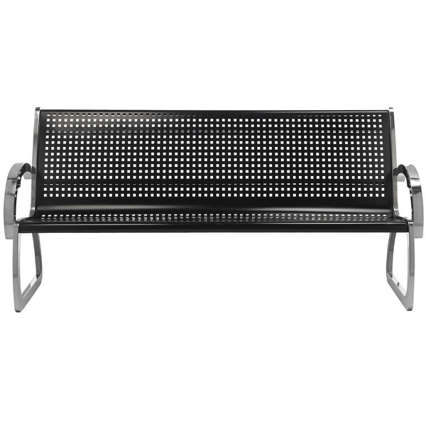 Commercial Zone 725101 Skyline Series 6u0027 Black And Stainless Steel Indoor / Outdoor  Bench