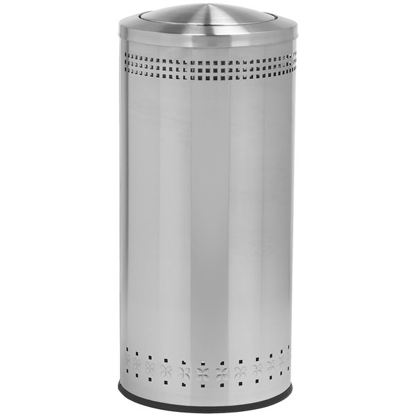 Commercial Zone 781429 Precision 25 Gallon Imprinted Stainless Steel Trash Receptacle and Swivel Lid Set Main Image 1