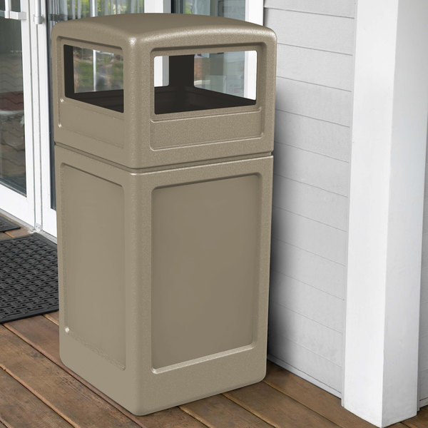 Commercial Zone 73290299 PolyTec 42 Gallon Square Beige Waste Container and Dome Lid Set Main Image 4
