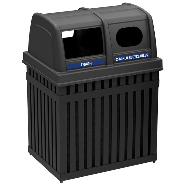Commercial Zone 72720199 ArchTec Parkview 50 Gallon Black Double Trash / Recycling Receptacle with Decals Main Image 1