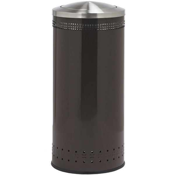 Commercial Zone 781438 Precision 25 Gallon Imprinted Brown Steel Trash Receptacle and Swivel Lid Set