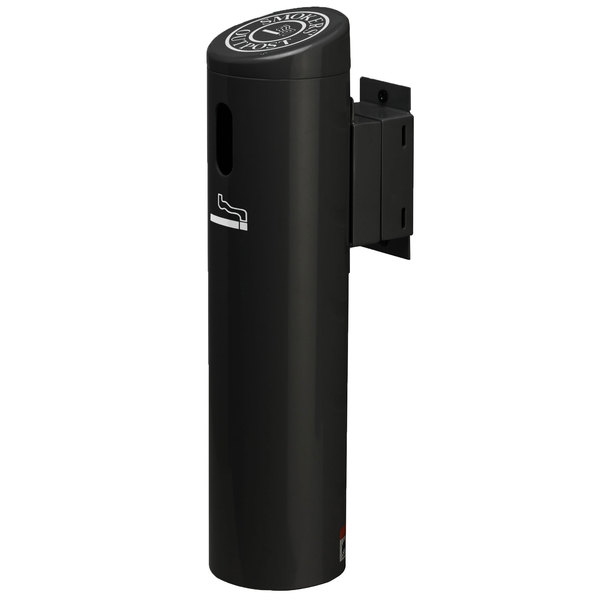 Commercial Zone 712101 Smokers' Outpost Black Wall-Mounted Cigarette Receptacle with Swivel System