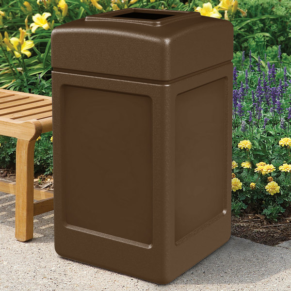 Commercial Zone 732137 PolyTec 42 Gallon Square Brown Waste Container Main Image 4