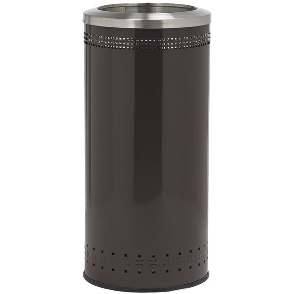 Commercial Zone 781838 Precision 25 Gallon Imprinted Brown Steel Trash Receptacle and Open Top Lid Set