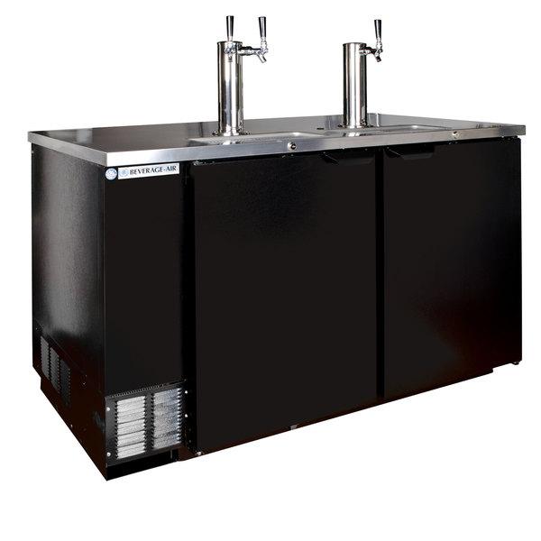 Beverage-Air DD58HC-1-B-016 (2) Double Tap Kegerator Beer Dispenser - Black, (3) 1/2 Keg Capacity