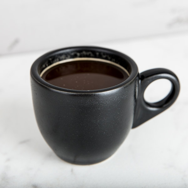 Hall China 301080AFCA Foundry 3.5 oz. Black China A.D. Cup - 24/Case