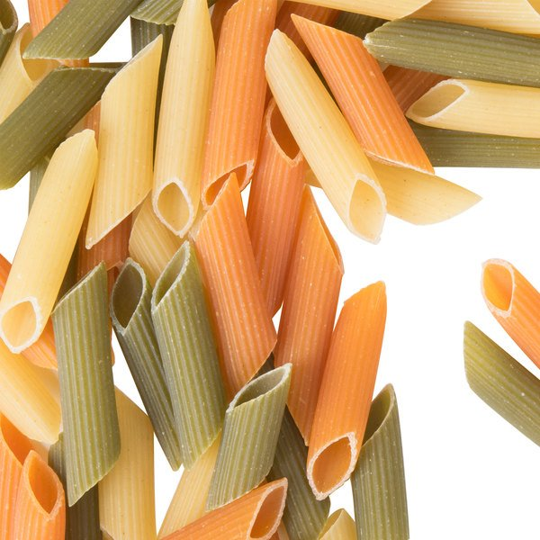 Close up of dry penne rigate pasta