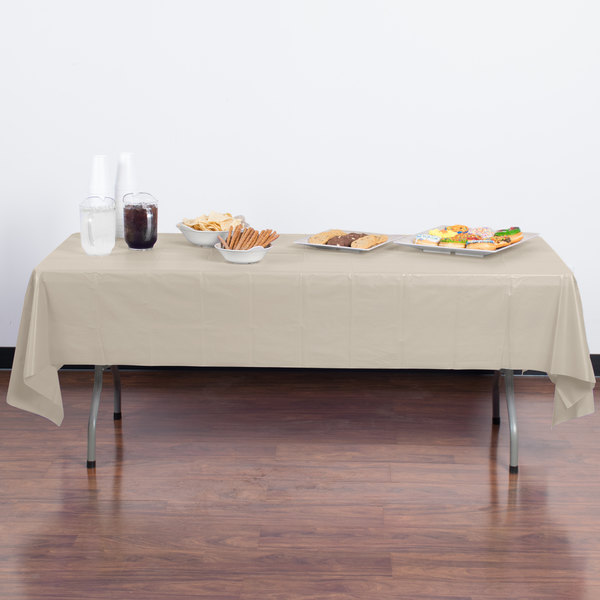 Creative Converting 01489b 54 X 108 Ivory Disposable Plastic Table Cover