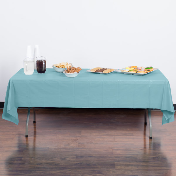 "Creative Converting 13025 54"" x 108"" Pastel Blue Disposable Plastic Table Cover"