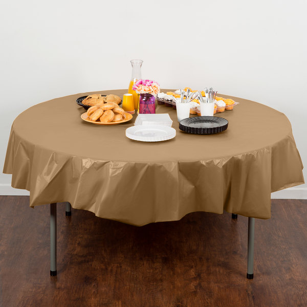 """Creative Converting 703276 82"""" Glittering Gold OctyRound Disposable Plastic Table Cover Main Image 4"""