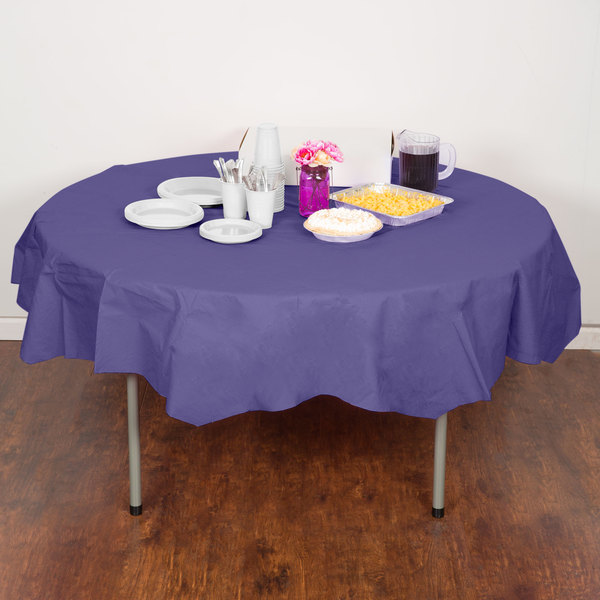 "Creative Converting 923268 82"" Purple OctyRound Tissue / Poly Table Cover"