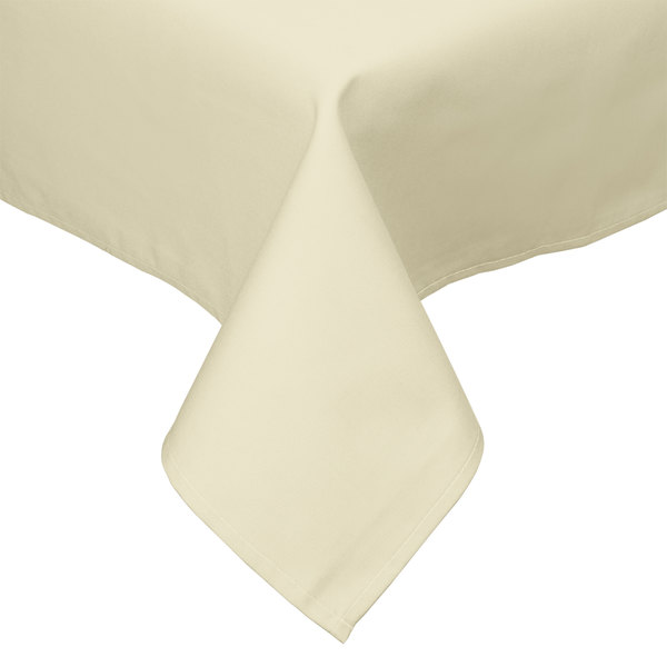 "54"" x 54"" Ivory Hemmed Polyspun Cloth Table Cover"