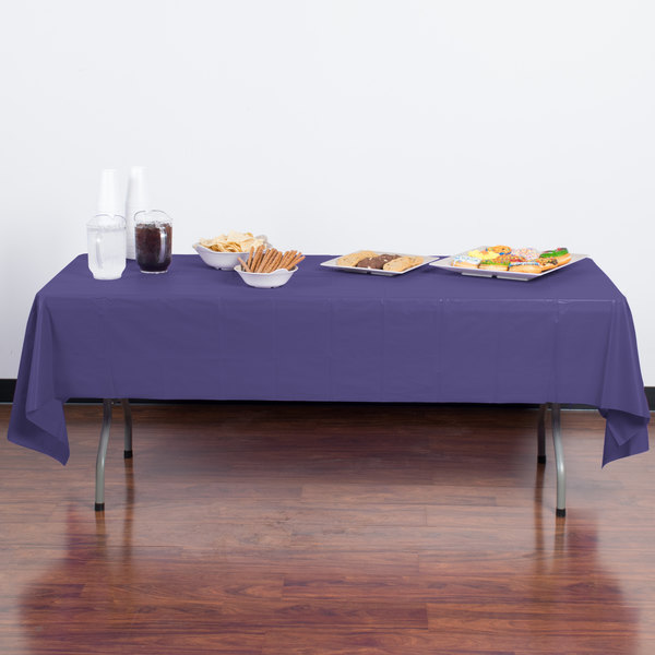 "Creative Converting 01287B 54"" x 108"" Purple Disposable Plastic Table Cover"