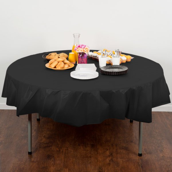 "Creative Converting 703260 82"" Black Velvet OctyRound Disposable Plastic Table Cover"