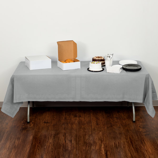 """Creative Converting 710236B 54"""" x 108"""" Shimmering Silver Tissue / Poly Table Cover"""