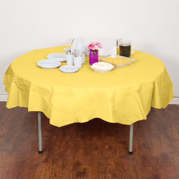 """Creative Converting 923266 82"""" Mimosa Yellow OctyRound Tissue / Poly Table Cover"""