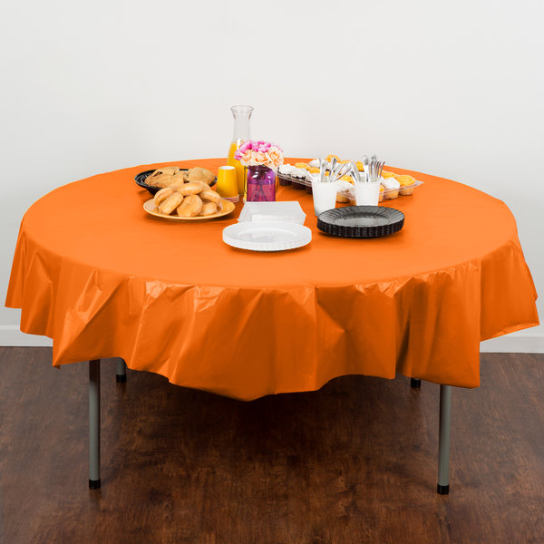 """Creative Converting 703282 82"""" Sunkissed Orange OctyRound Disposable Plastic Table Cover"""