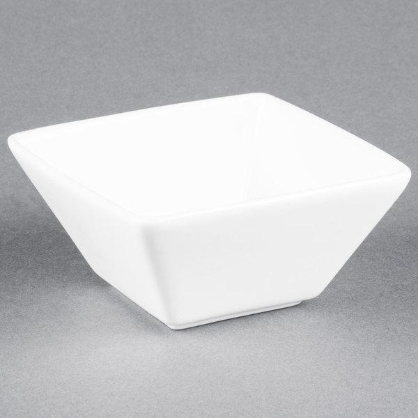 World Tableware SL-111 Slate 10 oz. Ultra Bright White Square Porcelain Bowl - 36/Case