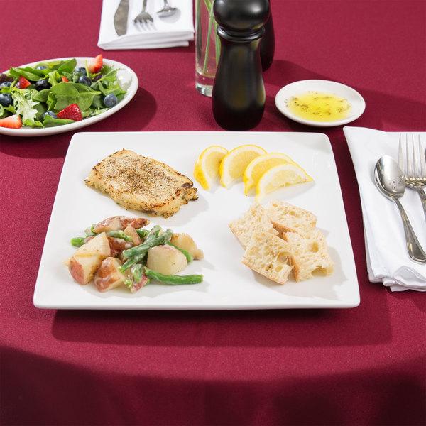 "World Tableware SL-10C Slate 10 7/8"" Ultra Bright White Coupe Square Porcelain Plate - 12/Case"