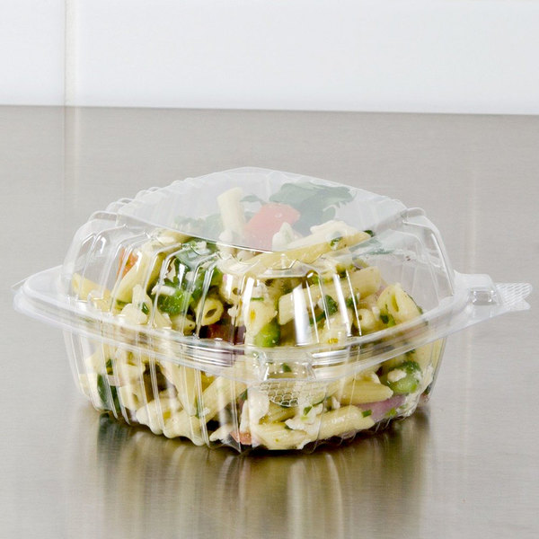 """Dart C53PST1 5 3/8"""" x 5 1/4"""" x 2 5/8"""" ClearSeal Clear Hinged Lid Plastic Container - 125/Pack"""