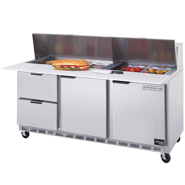"""Beverage-Air SPED72HC-08C-2 72"""" 2 Door 2 Drawer Cutting Top Refrigerated Sandwich Prep Table with 17"""" Wide Cutting Board Main Image 1"""