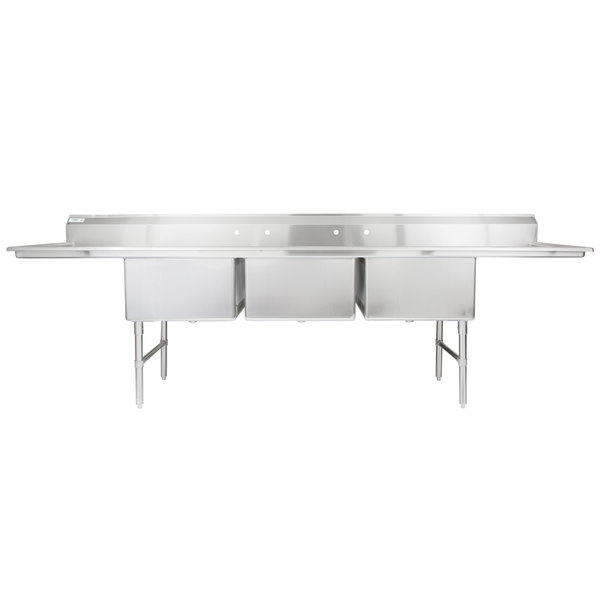 "Regency 124"" 16-Gauge Stainless Steel Three Compartment Commercial Sink with 2 Drainboards - 24"" x 24"" x 14"" Bowls"