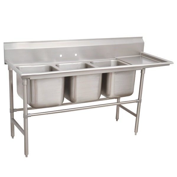 """Right Drainboard Advance Tabco 94-83-60-18 Spec Line Three Compartment Pot Sink with One Drainboard - 89"""""""