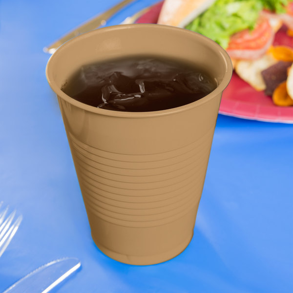 Creative Converting 28103081 16 oz. Glittering Gold Plastic Cup - 20/Pack Main Image 3