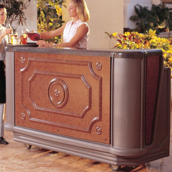 """Cambro BAR730DSCP668 Designer Series Sedona Cambar 78"""" Portable Bar with 7 Bottle Speed Rail and Cold Plate"""