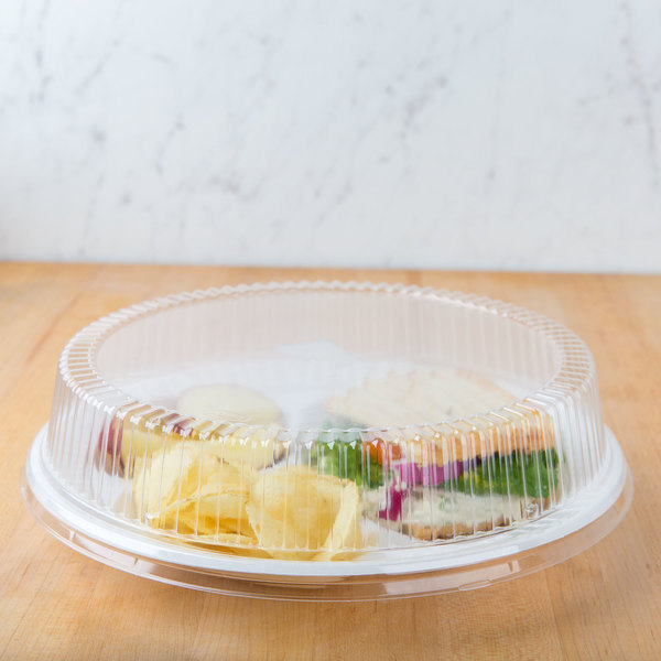 """Dart CL10P 10"""" Clear Dome Lid for Foam Plates - 500/Case"""
