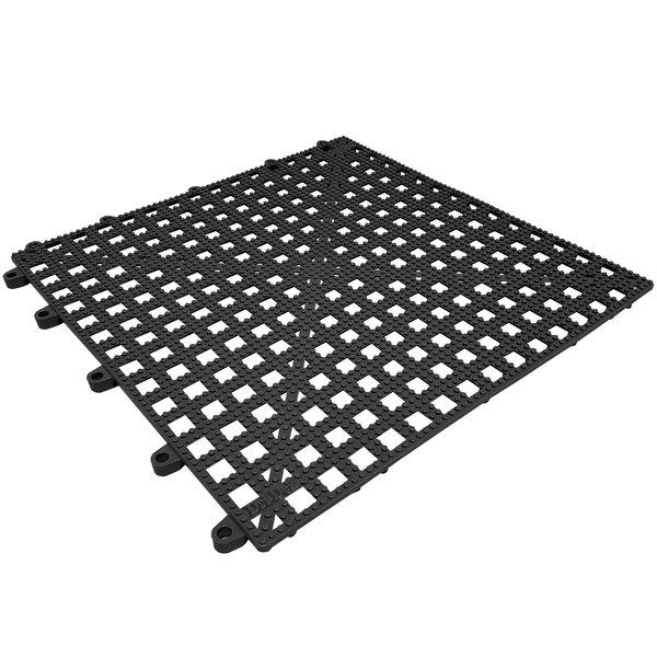 """Cactus Mat Dri-Dek 2554-CT Black 12"""" x 12"""" Vinyl Interlocking Drainage Floor Tile- 9/16"""" Thick"""