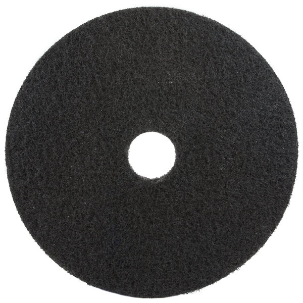 "3M 7200 10"" Black Stripping Floor Pad - 5/Case Main Image 1"