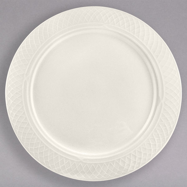 """Homer Laughlin 3377000 Gothic 9"""" Ivory (American White) China Plate - 24/Case"""