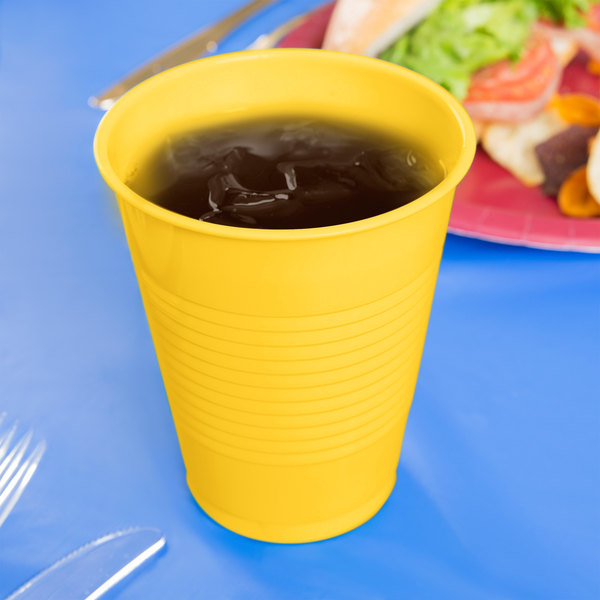 Creative Converting 28102181 16 oz. School Bus Yellow Plastic Cup - 20/Pack Main Image 3