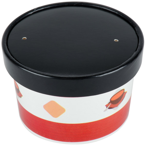 Choice 8 oz. Double Poly-Coated Paper Soup / Hot Food Cup with Vented Paper Lid - 250/Case