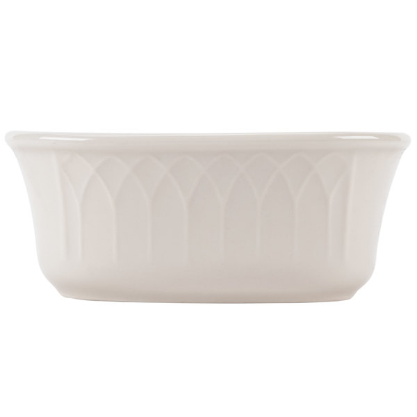 """Homer Laughlin 267000 Gothic 4 3/4"""" x 2 1/2"""" Ivory (American White) China Sugar Packet Holder - 36/Case"""