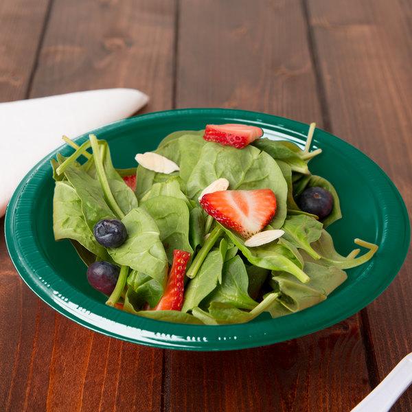 Creative Converting 28312451 12 oz. Hunter Green Plastic Bowl - 20/Pack