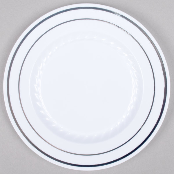 Fineline Silver Splendor 506-WH 6 inch White Plastic Plate with Silver Bands - 150/Case
