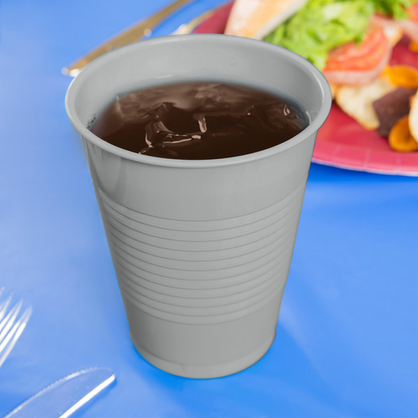 Creative Converting 28106081 16 oz. Shimmering Silver Plastic Cup - 20/Pack
