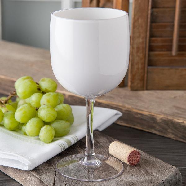 Carlisle EP7002 Epicure Cased 16.5 oz. White Tritan Plastic Wine Goblet - 12/Case