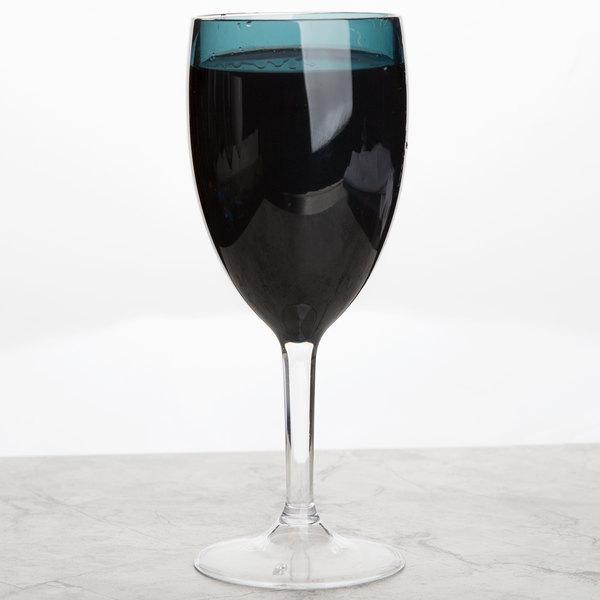 Carlisle EP9015 Epicure Cased 12 oz. Aqua Tritan Plastic Wine Goblet - 12/Case