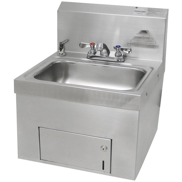 """Advance Tabco 7-PS-65 Wall Mounted Hand Sink with Undermount Paper Towel Dispenser - 17 1/4"""" x 17 1/4"""""""