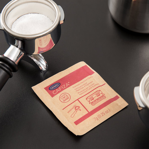 Urnex 12-ESP100-14 .25 oz. Cafiza Espresso Machine Cleaning Powder Packet - 100/Case Main Image 3