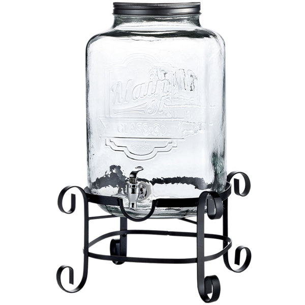 Mason Jar Glass Beverage Drink Dispensers With Metal Stand